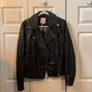 Ted Baker - Black Leather Biker Jacket - Size 5